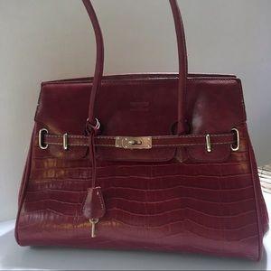 Handbags - Birkin Style Deep Red Bag EUC